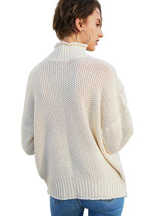 Round Neckline Solid Elegant Loose Regular Shift Sweaters (1367293)