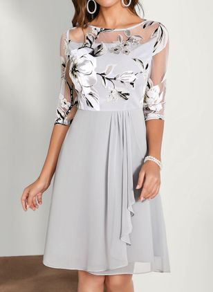 Elegant Floral Round Neckline Knee-Length X-line Dress (1501704)