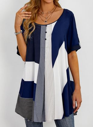 Plus Størrelse Color Block Rund hals Casual X-line Bluser Langærmet Plus Skjorter (1439633)