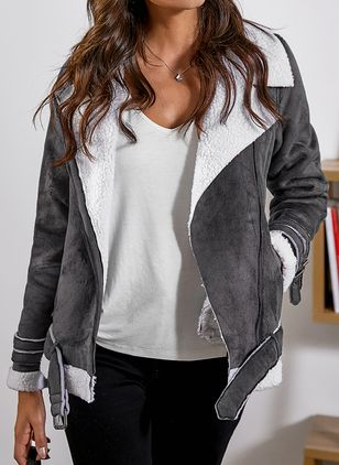 Long Sleeve Lapel Zipper Jackets (1024475)