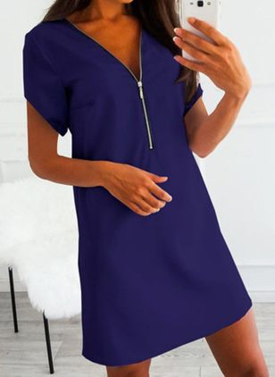 Casual Solid Tunic V-Neckline A-line Dress (4456958)