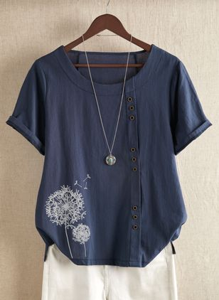 Floral Casual Round Neckline Short Sleeve Blouses (1349128)
