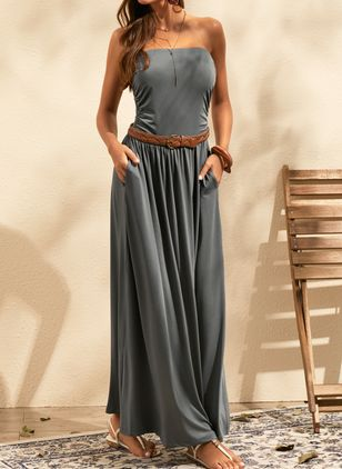 Casual Solid Strapless Neckline Maxi X-line Dress (1309686)