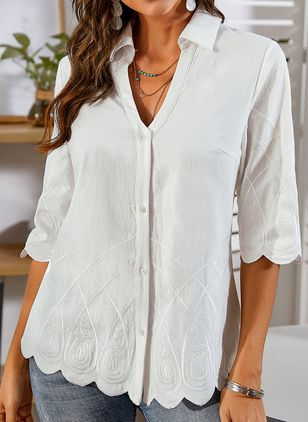 Solid Casual V-Neckline 3/4 Sleeves Blouses (1321339)