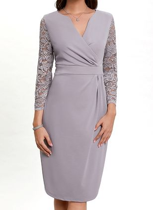 Elegant Solid Pencil V-Neckline Sheath Dress (1501130)