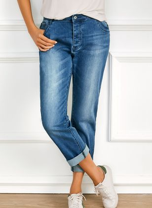Casual Straight Mid Waist Polyester Jeans (1543236)