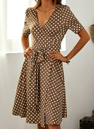 Casual Polka Dot V-Neckline Above Knee X-line Dress (1499881)