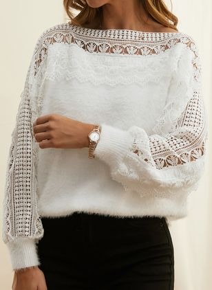 Round Neckline Solid Vintage Loose Regular Lace Hollow Out Sweaters (112236761)
