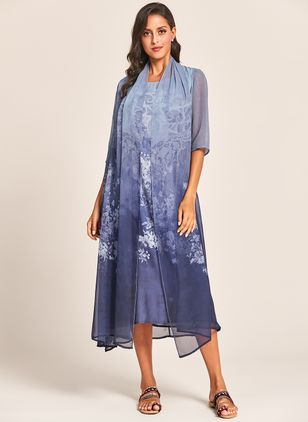 Elegant Floral Wrap Tunic Shift Dress (1338928)