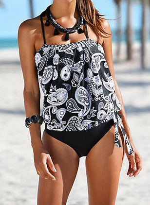 Polyester Halter Knotted Floral Tankinis Swimwear (1315119)